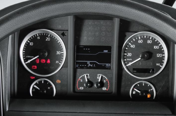 Màn hình LCD hiển thị tình trạng xe, thông tin lộ trình.