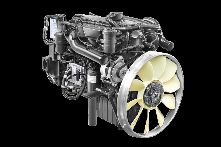 Động cơ DOOSAN DL06K Công suất: 280PS/2.500 rpm Momen xoắn: 981N.m/1.400rpm Dung tích xylanh: 5.890cc