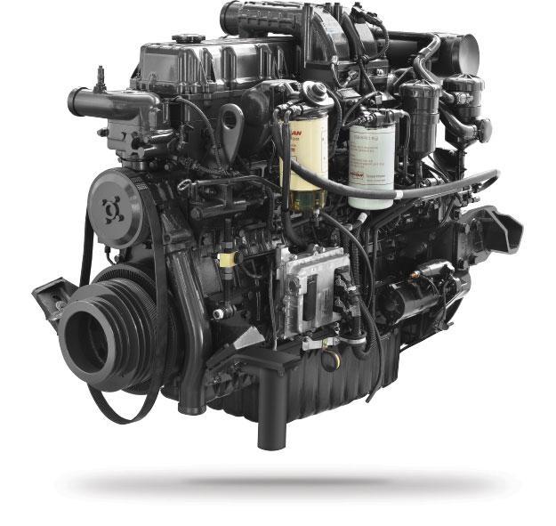 Động cơ DOOSAN DL08K Công suất: 350 PS/2.100 rpm Momen xoắn: 1.471N.m/1.200rpm Dung tích xylanh: 7.640cc